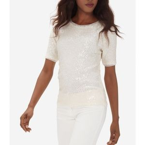 Limited Luxe Collection Cream Full Sequin Shirt